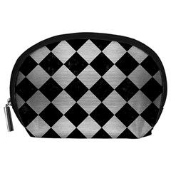 Square2 Black Marble & Silver Brushed Metal Accessory Pouch (large)