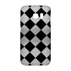 Square2 Black Marble & Silver Brushed Metal Samsung Galaxy S6 Edge Hardshell Case