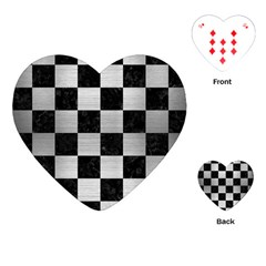 Square1 Black Marble & Silver Brushed Metal Playing Cards (heart)