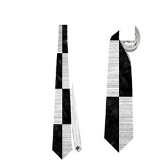 Square1 Black Marble & Silver Brushed Metal Necktie (two Side)