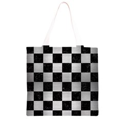 SQR1 BK MARBLE SILVER Grocery Light Tote Bag