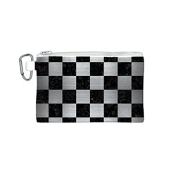Square1 Black Marble & Silver Brushed Metal Canvas Cosmetic Bag (small)