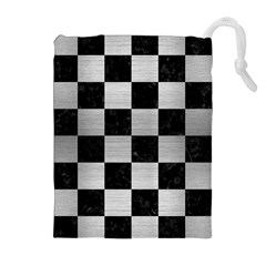 SQR1 BK MARBLE SILVER Drawstring Pouches (Extra Large)