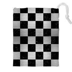 Square1 Black Marble & Silver Brushed Metal Drawstring Pouch (xxl)