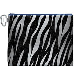 Skin3 Black Marble & Silver Brushed Metal Canvas Cosmetic Bag (xxxl)