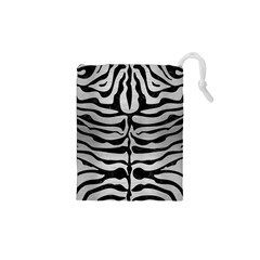 Skin2 Black Marble & Silver Brushed Metal (r) Drawstring Pouch (xs)
