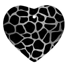 Skin1 Black Marble & Silver Brushed Metal (r) Heart Ornament (two Sides)