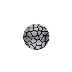 Skin1 Black Marble & Silver Brushed Metal 1  Mini Button