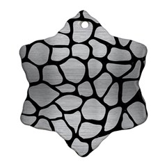 Skin1 Black Marble & Silver Brushed Metal Snowflake Ornament (two Sides)