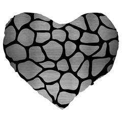 Skin1 Black Marble & Silver Brushed Metal Large 19  Premium Flano Heart Shape Cushion