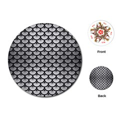 Scales3 Black Marble & Silver Brushed Metal (r) Playing Cards (round)