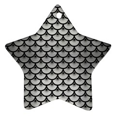 Scales3 Black Marble & Silver Brushed Metal (r) Star Ornament (two Sides)