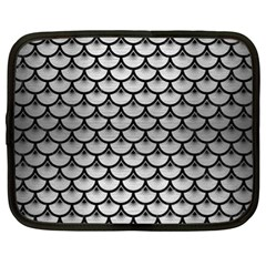 Scales3 Black Marble & Silver Brushed Metal (r) Netbook Case (xl)