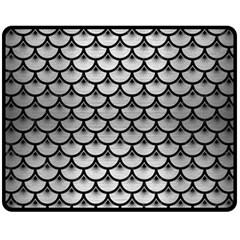 Scales3 Black Marble & Silver Brushed Metal (r) Fleece Blanket (medium)