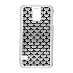 Scales3 Black Marble & Silver Brushed Metal (r) Samsung Galaxy S5 Case (white)