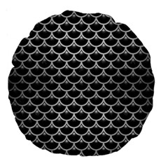 Scales3 Black Marble & Silver Brushed Metal Large 18  Premium Flano Round Cushion