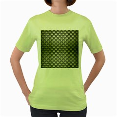Scales2 Black Marble & Silver Brushed Metal (r) Women s Green T Shirt
