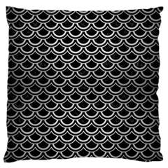 Scales2 Black Marble & Silver Brushed Metal Large Flano Cushion Case (one Side)