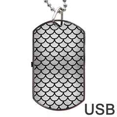 Scales1 Black Marble & Silver Brushed Metal (r) Dog Tag Usb Flash (two Sides)