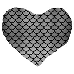 Scales1 Black Marble & Silver Brushed Metal (r) Large 19  Premium Flano Heart Shape Cushion