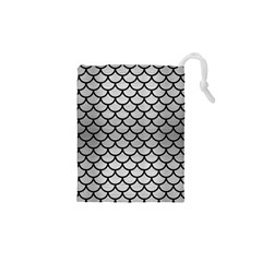 Scales1 Black Marble & Silver Brushed Metal (r) Drawstring Pouch (xs)