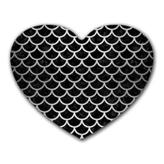 Scales1 Black Marble & Silver Brushed Metal Heart Mousepad