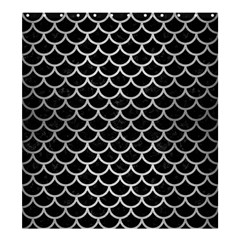Scales1 Black Marble & Silver Brushed Metal Shower Curtain 66  X 72  (large)