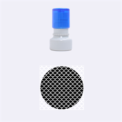 Scales1 Black Marble & Silver Brushed Metal Rubber Stamp Round (small)
