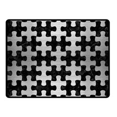 Puzzle1 Black Marble & Silver Brushed Metal Fleece Blanket (small)