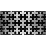 PUZZLE1 BLACK MARBLE & SILVER BRUSHED METAL Happy Birthday 3D Greeting Card (8x4) Front