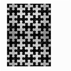 Puzzle1 Black Marble & Silver Brushed Metal Large Garden Flag (two Sides)