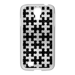 Puzzle1 Black Marble & Silver Brushed Metal Samsung Galaxy S4 I9500/ I9505 Case (white)