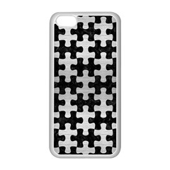 Puzzle1 Black Marble & Silver Brushed Metal Apple Iphone 5c Seamless Case (white)