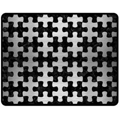 Puzzle1 Black Marble & Silver Brushed Metal Double Sided Fleece Blanket (medium)