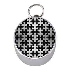 Puzzle1 Black Marble & Silver Brushed Metal Silver Compass (mini)
