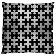 Puzzle1 Black Marble & Silver Brushed Metal Large Flano Cushion Case (one Side)