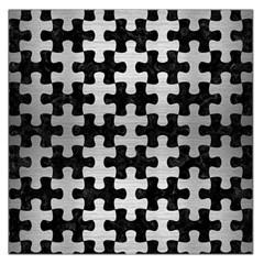Puzzle1 Black Marble & Silver Brushed Metal Large Satin Scarf (square)