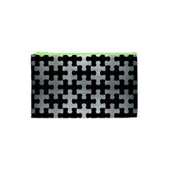 Puzzle1 Black Marble & Silver Brushed Metal Cosmetic Bag (xs)