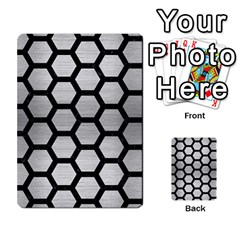 Hexagon2 Black Marble & Silver Brushed Metal (r) Multi Purpose Cards (rectangle)
