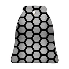 Hexagon2 Black Marble & Silver Brushed Metal (r) Ornament (bell)