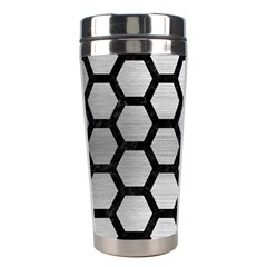Hexagon2 Black Marble & Silver Brushed Metal (r) Stainless Steel Travel Tumbler