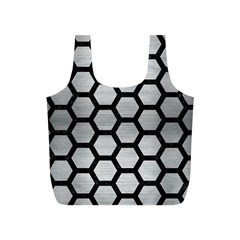 Hexagon2 Black Marble & Silver Brushed Metal (r) Full Print Recycle Bag (s)
