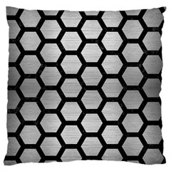 Hexagon2 Black Marble & Silver Brushed Metal (r) Standard Flano Cushion Case (two Sides)