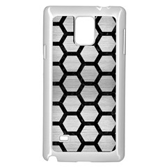 Hexagon2 Black Marble & Silver Brushed Metal (r) Samsung Galaxy Note 4 Case (white)