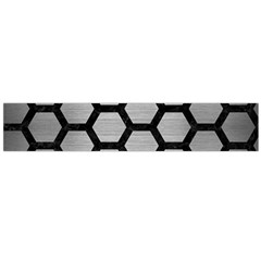 Hexagon2 Black Marble & Silver Brushed Metal (r) Flano Scarf (large)