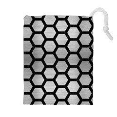 Hexagon2 Black Marble & Silver Brushed Metal (r) Drawstring Pouch (xl)