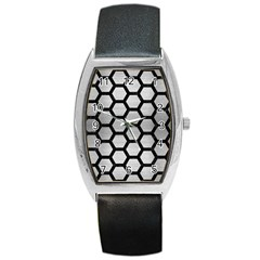Hexagon2 Black Marble & Silver Brushed Metal Barrel Style Metal Watch