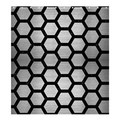 Hexagon2 Black Marble & Silver Brushed Metal Shower Curtain 66  X 72  (large)