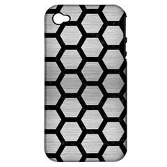 Hexagon2 Black Marble & Silver Brushed Metal Apple Iphone 4/4s Hardshell Case (pc+silicone)