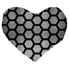 Hexagon2 Black Marble & Silver Brushed Metal Large 19  Premium Flano Heart Shape Cushion